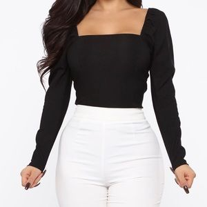 Fashionova Square Neck Fitted puffy Shoulder Top